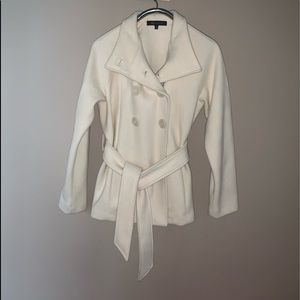 Anne Klein Double Breasted Ivory Wool XL Coat